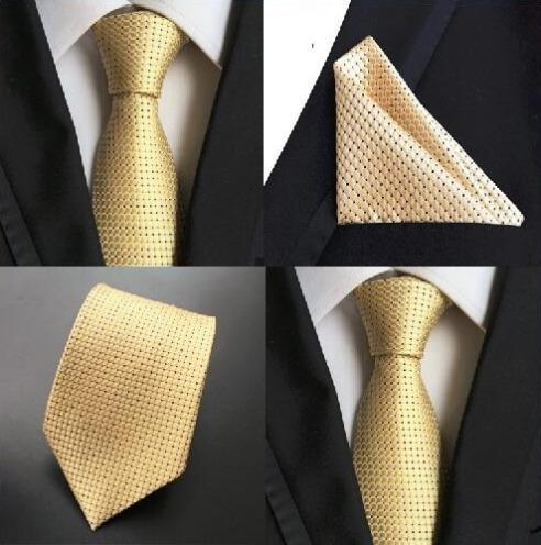 Hodvábna kravatová sada - hodvábna viazanka a vreckovka v žltej farbe