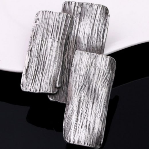 Umelecká ručne brúsená a leptaná brošňa - oceľová kôra stromu