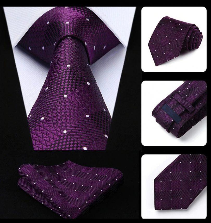 Elegantná sada - hodvábna kravata s vreckovkou - fialový vzor