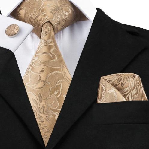 Hodvábna kravatová sada - kravata + manžety + vreckovka s hnedým vzorom