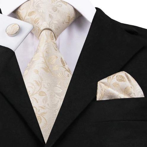 Hodvábna kravatová sada - kravata + manžety + vreckovka s krémovým vzorom