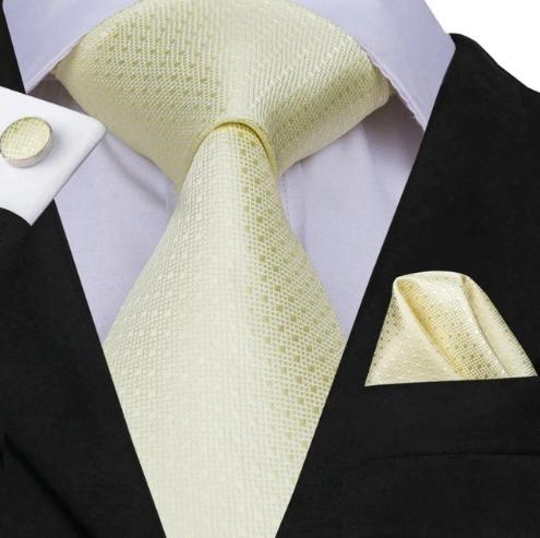 Hodvábna kravatová sada - kravata + manžety + vreckovka so svetlo-žltým vzorom