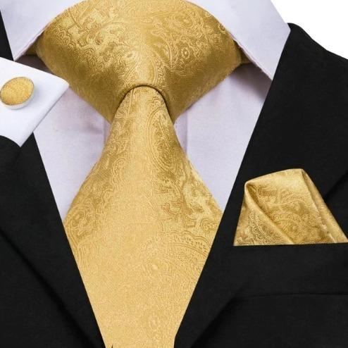 Hodvábna kravatová sada - kravata + manžety + vreckovka so zlatým vzorom