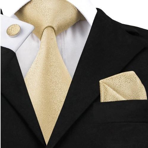 Hodvábna kravatová sada - kravata + manžety + vreckovka v svetlo žltej štruktúre