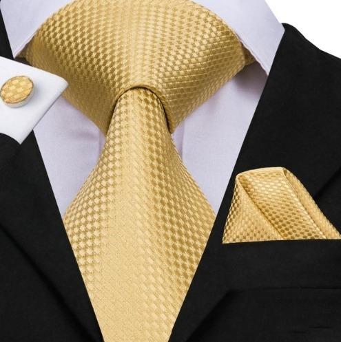 Hodvábna kravatová sada - kravata + manžety + vreckovka v zlatej štruktúre