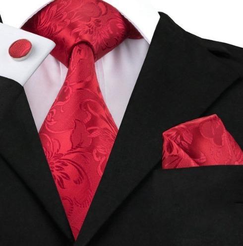 Kravatová sada - kravata + manžety + vreckovka s červeným vzorom