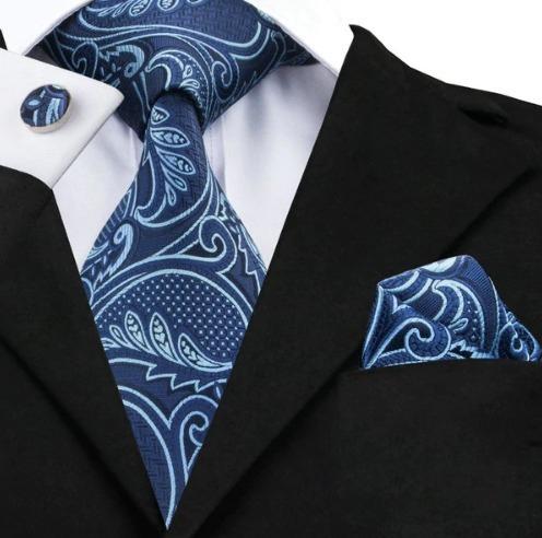 Kravatová sada - kravata + manžety + vreckovka s modrým vzorom
