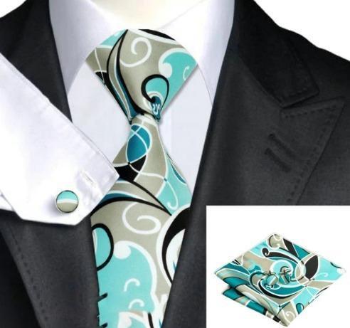 Kravatová sada - kravata + manžety + vreckovka s tyrkysovým vzorom