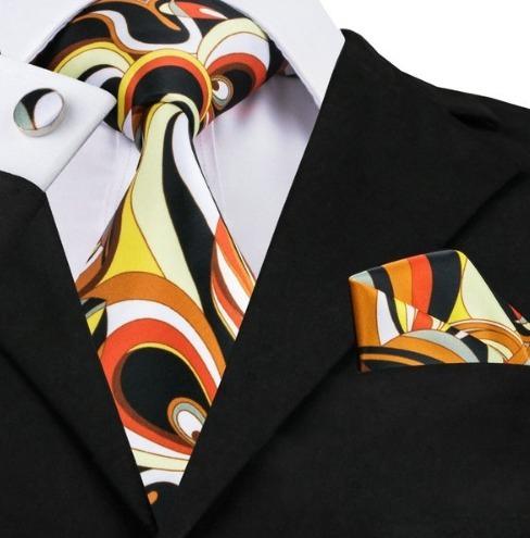 Kravatová sada - kravata + manžety + vreckovka s viacfarebným vzorom