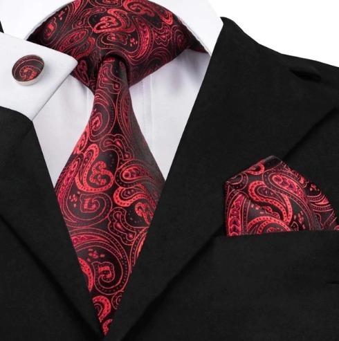 Kravatový set - kravata + manžety + vreckovka s červeným ornamentom