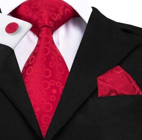 Kravatový set - kravata + manžety + vreckovka s červenými bublinkami