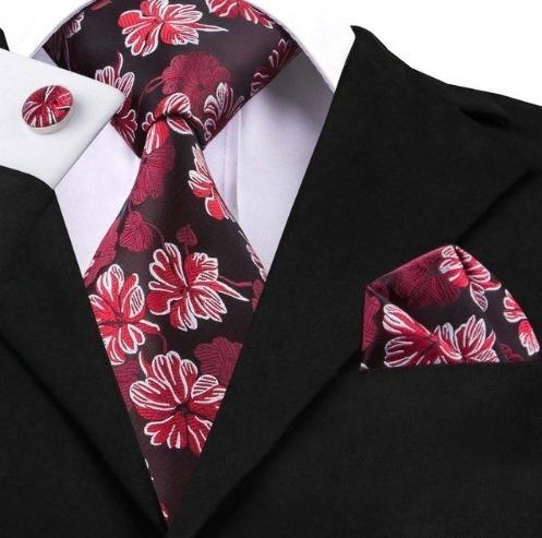 Kravatový set - kravata + manžety + vreckovka s červenými kvetinami