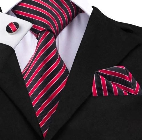 Kravatový set - kravata + manžety + vreckovka s červeno-čiernymi pásikmi