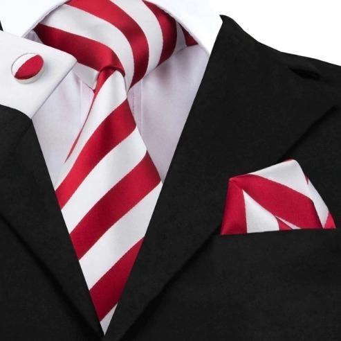 Kravatový set - kravata + manžety + vreckovka s červeno-bielymi pásikmi