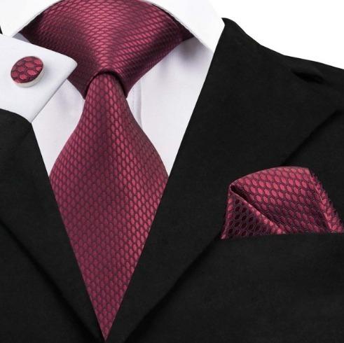 Kravatový set - kravata + manžety + vreckovka s bordovým vzorom