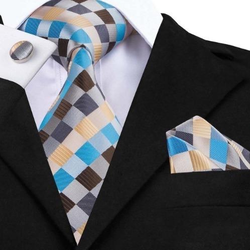 Luxusná kravatová sada - kravata + manžetové gombíky + vreckovka vo viac farbách