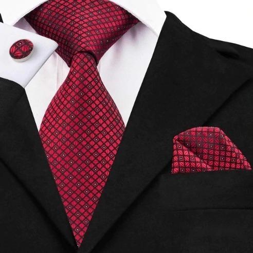 Luxusná kravatová sada - kravata + manžety + vreckovka s červeným vzorom