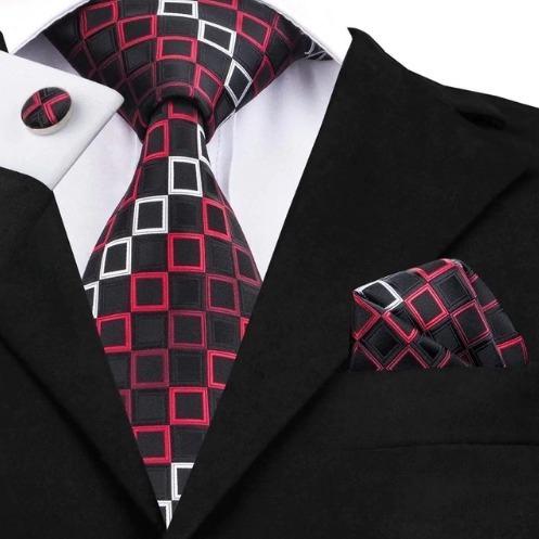Luxusná kravatová sada - kravata + manžety + vreckovka s červenými štvorčekmi