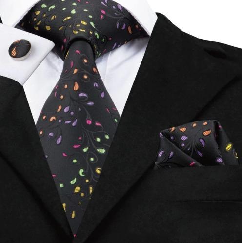 Luxusná kravatová sada - kravata + manžety + vreckovka s farebným vzorom