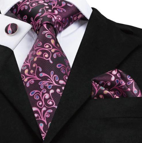 Luxusná kravatová sada - kravata + manžety + vreckovka s fialovým vzorom
