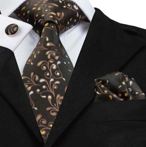 Luxusná kravatová sada - kravata + manžety + vreckovka s hnedým vzorom