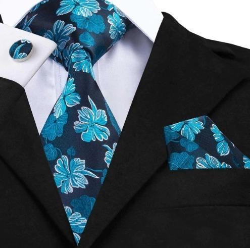 Luxusná kravatová sada - kravata + manžety + vreckovka s modrými kvietkami