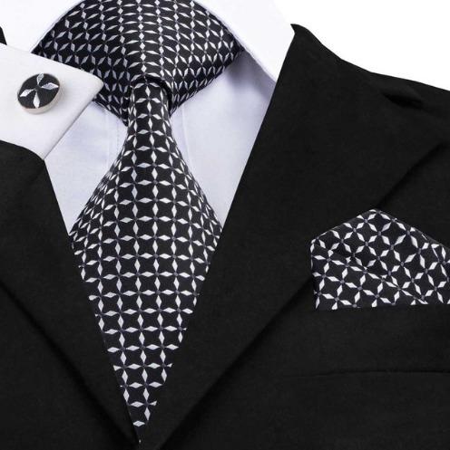 Luxusná kravatová sada - kravata + manžety + vreckovka v čierno-bielej farbe
