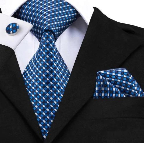 Luxusná kravatová sada - kravata + manžety + vreckovka s modrými štvorčekmi