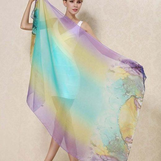 Veľký elegantný šál zo 100% hodvábu v dúhových farbách
