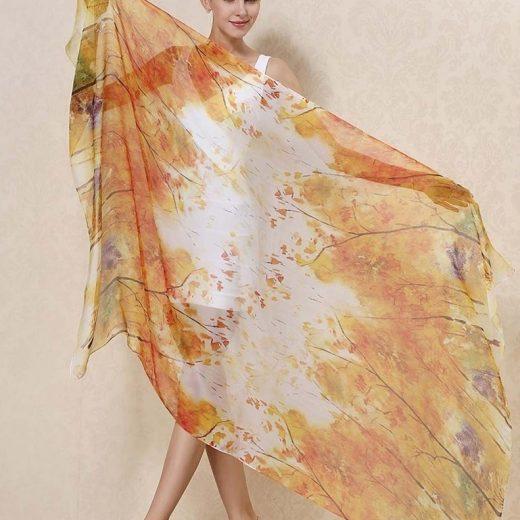 Veľký elegantný šál zo 100% hodvábu v jesenných farbách