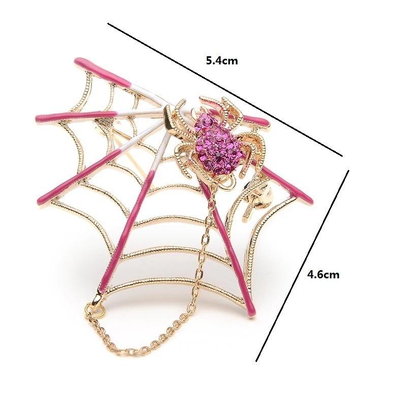 Elegantná smaltovaná brošňa - pavúčik na pavučine s magnetom