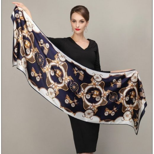 Elegantný hodvábny šál rozmerov 178 x 55 cm - Retro