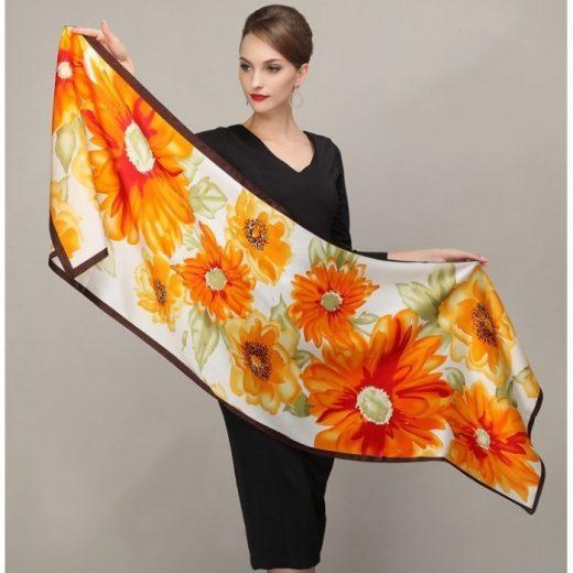 Elegantný hodvábny šál rozmerov 178 x 55 cm - Sunflowers