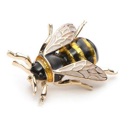 Luxusná smaltovaná brošňa na šaty v podobe včielky