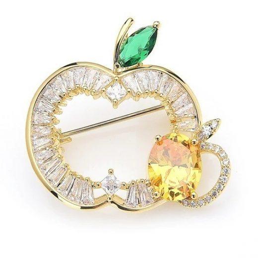 Luxusná smaltovaná brošňa prívesok na krk v podobe jablka