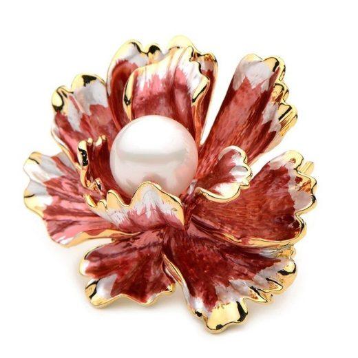 Luxusná smaltovaná brošňa prívesok na náhrdelník v tvare pivonky