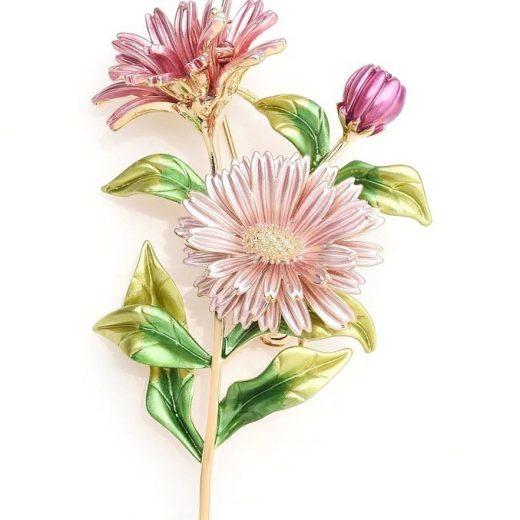 Luxusná smaltovaná brošňa prívesok na náhrdelník v tvare sedmokrásky