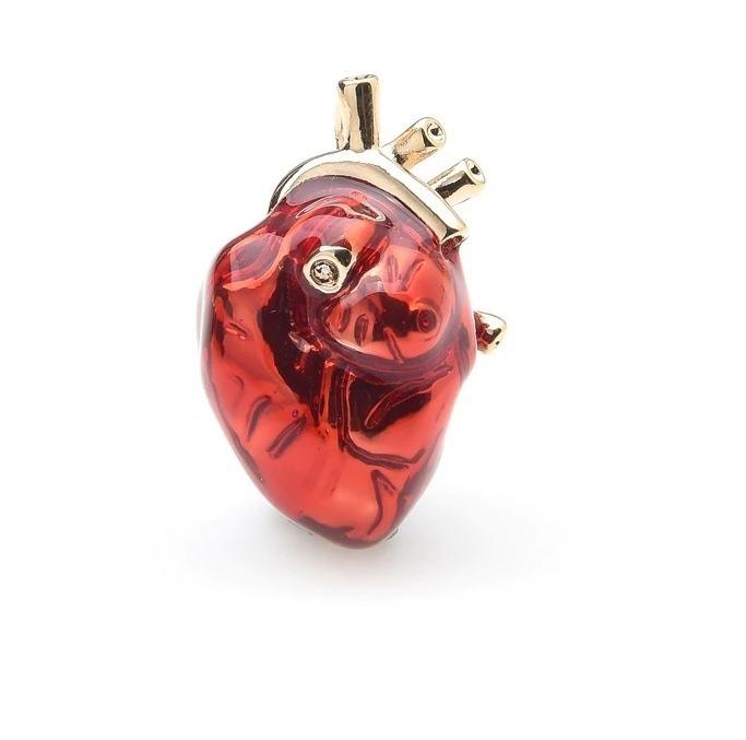 Luxusná smaltovaná brošňa prívesok na náhrdelník v tvare srdca