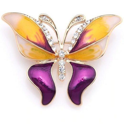 Luxusná smaltovaná brošňa prívesok v podobe farebného motýľa