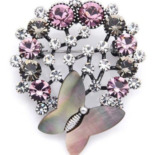 Luxusná smaltovaná brošňa prívesok v podobe kytice s motýľom