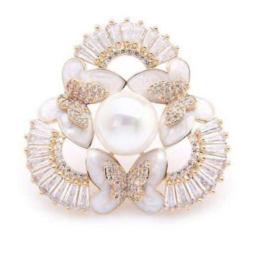 Luxusná smaltovaná brošňa v podobe motýľov s perlou a kryštálmi