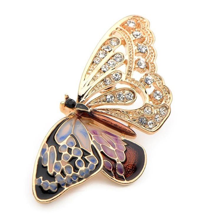 Luxusná smaltovaná brošňa v tvare prepracovaného motýľa