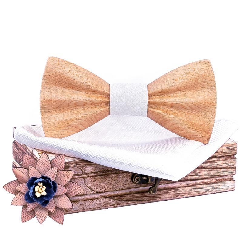 Drevený motýlik z bukového dreva - motýlik + vreckovka + brošňa