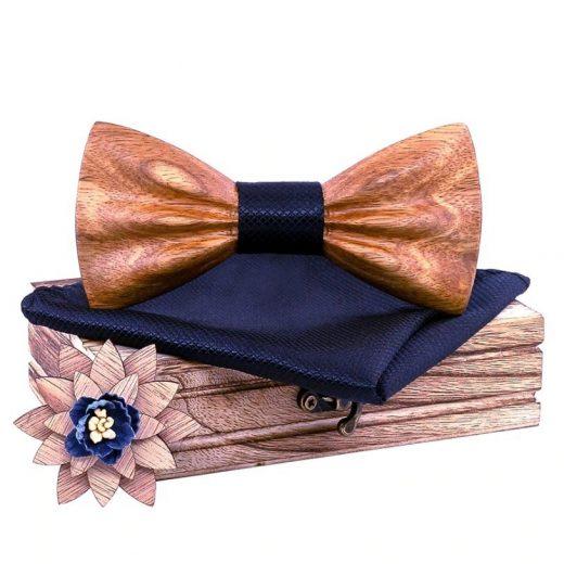 Drevený motýlik z javorového dreva - motýlik + vreckovka + brošňa