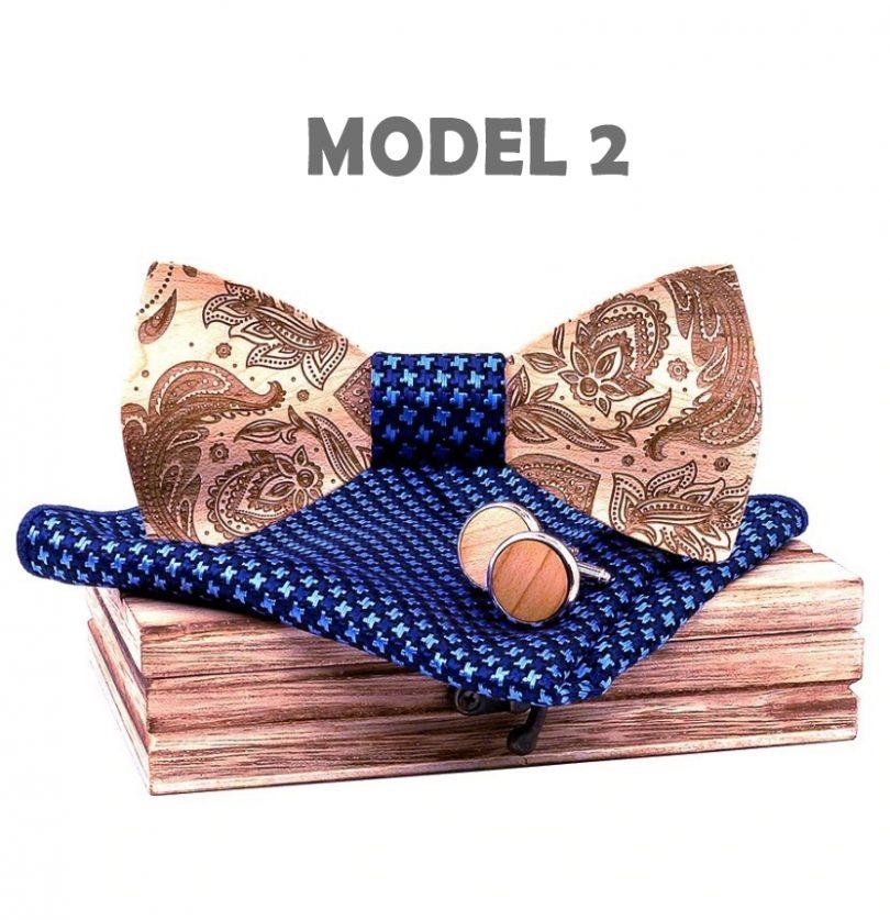 Motýlikový set z javorového dreva s reliéfnym ľudovým vzorom