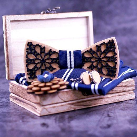 Set - drevený motýlik dvojvrstvový + manžety + vreckovka + brošňa