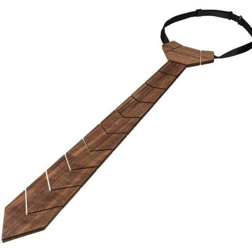 Drevená pánska kravata z prírodného orechového dreva