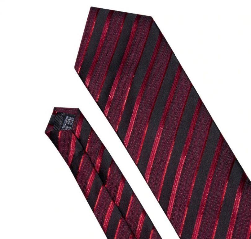 Elegantná sada kravaty + manžetové gombíky + vreckovka s červenými pásmi
