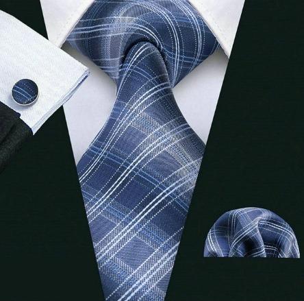 Pánska sada - kravata + manžety + vreckovka s modrým vzorom