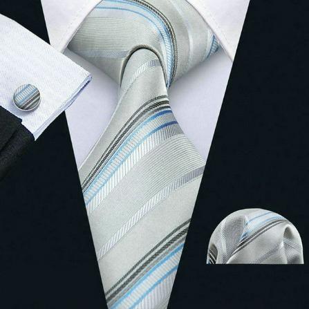 Pánska sada - kravata + manžety + vreckovka so sivo-modrým vzorom